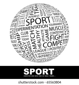 SPORT. Globe with different association terms.