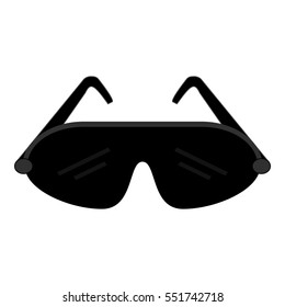 Sport goggles icon. Wind and snow protection glasses. Isolated graphic vector illustration icon in flat style. Vector drawing.