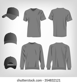 Sport grey t-shirt, sweater and baseball cap isolated set vector