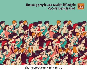 Sport group people run and sky color. Healthy marathon with group young people. Color vector illustration. EPS8