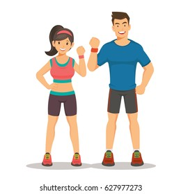 Sport gym fitness couple. Smiling young woman and man instructors. cartoon vector illustration