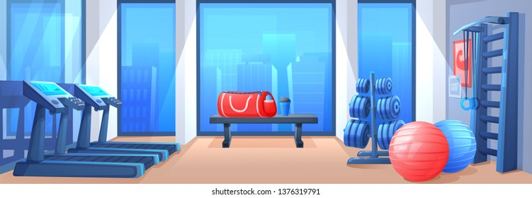 Sport gym interior room. Fitness equipment - a treadmill and a fitballs and a dumbbells. Vector cartoon illustration