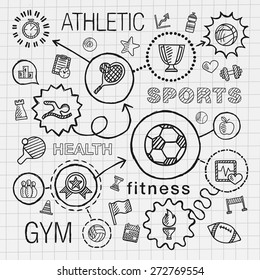 Sport hand draw integrated icons set. Vector sketch infographic illustration with line connected doodle hatch pictogram on school paper: competition, ball, play, soccer, tennis, cup sign, game concept