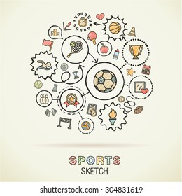 Sport hand drawing integrated sketch icons. Vector doodle interactive pictogram set. Connected infographic illustration on paper: baseball, football, tennis, bicycle, soccer, rugby, fitness concepts