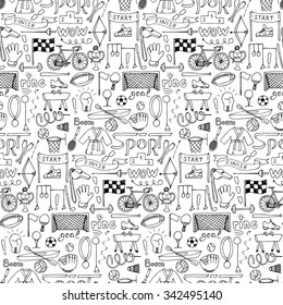 Sport hand drawn seamless pattern. Vector illustration of doodle sport elements for backgrounds, wrapping, wallpapers, textile prints