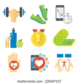 Sport and healthy life concept flat icon set of jogging, gym, food, metrics etc. Isolated vector illustration, modern design element