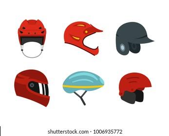 Sport helmet icon set. Flat set of sport helmet vector icons for web design isolated on white background