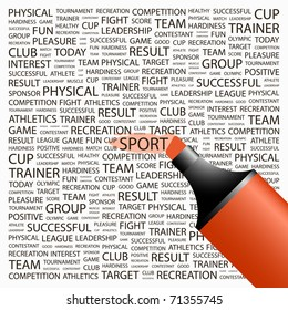 SPORT. Highlighter over background with different association terms. Vector illustration.