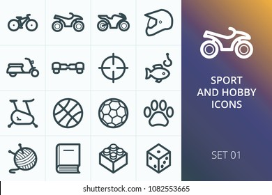 Sport and hobbies icons set. Set of bike, sports equipment, ATV, fishing, hunting, needlework, gyroscooter, games icons.