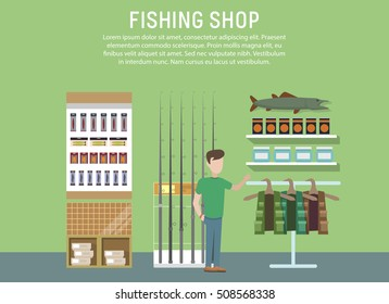 Sport or hobby fishing shop interior. Supermarket with fish catching accessories or items. Fish equipment like float and hook, fishing rod or spinner. Mall or store, shop banner or logo