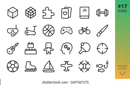 Sport, hobby, games isolated icons set. Set of board game dice, puzzle piece, gym, fitness, diving mask, controller pad, bike, guitar instrument, drone, model kit, ping pong outline vector icon