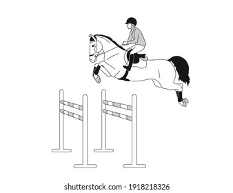 Sport horse and athlete jumping an obstacle during an equestrian competition
