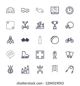 Sport icon. collection of 25 sport outline icons such as dice, ranking, trophy, flippers, plastic ball, skipping rope. editable sport icons for web and mobile.