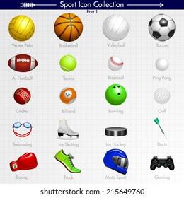 Sport Icon Collection. Water Polo, Basketball, Volleyball, Soccer, American Football, Tennis, Baseball, Ping Pong, Cricket, Billiard, Bowling, Golf, Swimming, Running, Moto Sport, Gaming