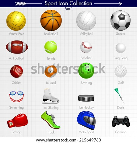 7f21e9aa85dc8 Sport Icon Collection Water Polo Basketball Stock Vector (Royalty ...