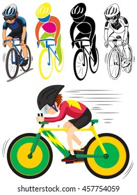 Sport icon for man doing cycling illustration