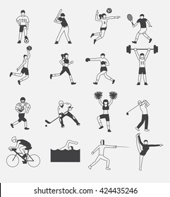 sport icon vector set 1 , man and women doing exercise