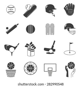 Sport icons black set with tennis baseball and volleyball equipment isolated vector illustration