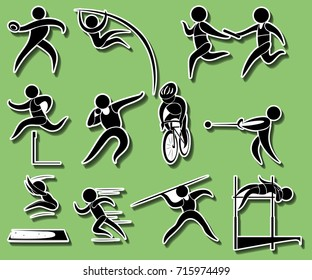Sport icons for different types of track and field events illustration