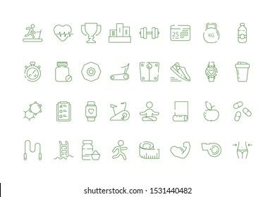 Sport icons. Fitness industry symbols healthy education gym items balls exercises tools vector collection