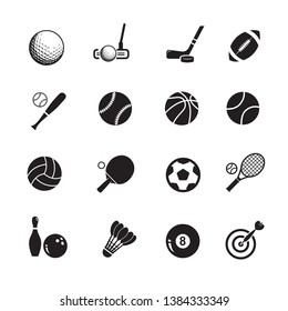 Sport  icons, Flat vector illustration in black on white background