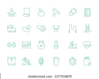 Sport icons. Health fitness nutrition and items trainer fit coaching dieting yoga vector symbols