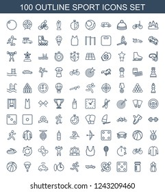 sport icons. Set of 100 outline sport icons included bowling, bottle for fitness, Dice, wheel, cabriolet, running man on white background. Editable sport icons for web, mobile and infographics.