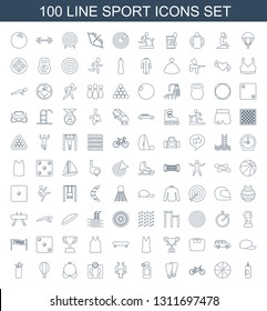 sport icons. Trendy 100 sport icons. Contain icons such as boxing bag, basketball, bicycle, flippers, bottle for fitness, bull, floor scale, bra. sport icon for web and mobile.