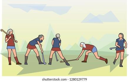 sport illustration, woman hockey on grass