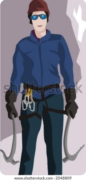 Sport illustrations series. Climber illustration.