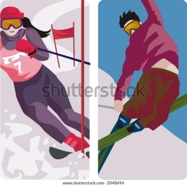 Sport illustrations series. A set of 2 winter sport illustrations.