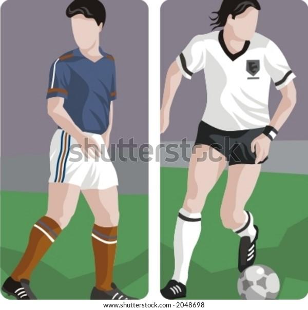 Sport illustrations series. A set of 2 soccer illustrations.
