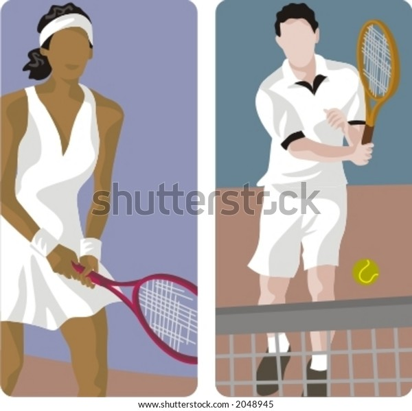 Sport illustrations series. A set of 2 tennis illustrations.