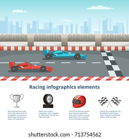 Sport Infographic With Race Cars Of Formula 1 Different And Driver Tools
