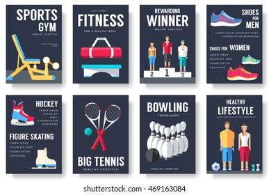 Sport information cards set. Lifestyle template of flyer, magazines, posters, book cover, banners. Physical athletic infographic concept  background. Layout illustrations modern pages with typography
