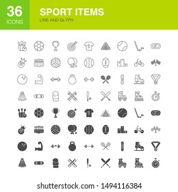 Sport Items Line Web Glyph Icons. Vector Illustration of Fitness Outline and Solid Symbols.