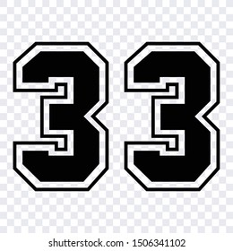 sport jersey number 33 vector black symbol template isolated