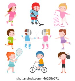 Sport kids characters with toys and sport kids activity group, kids playing various sports games such us hockey, football, gymnastics, fitness, tennis, basketball, roller skating, bike flat vector