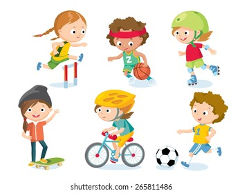 sport for kids including football, basketball, athletic, bicycle, skate rolling