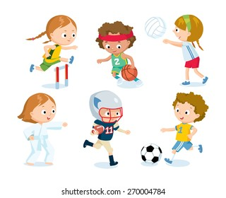sport for kids including football, volleyball, basketball, karate,  american football, athletics