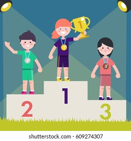 Sport kids on pedestal with trophy cup. Vector illustrationChildren on victory podium with medal.
