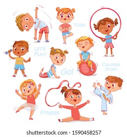 Sport for kids. Physical Training, Fitness, Karate, Yoga, Aerobics, Gymnastics, Dancing. Let's play. Hand drawn style vector design illustrations, funny cartoon character. Isolated on white background