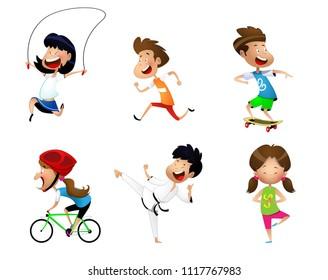 Sport kids set including jogging, martial arts, yoga, bicycle, jumping rope, roller skating. Vector
