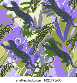 Sport leopard seamless pattern. Leopard silhouettes in a geometric print. Absract jungle background with geometric elements, doodles, exotic flowers and leaves. Good for textile, fabric clothes.