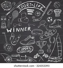 Sport life sketch doodles elements. Hand drawn set with baseball bat, glove, bowling, hockey tennis items, race car, cup medal, boxing, winter sports. Drawing collection, on chalkboard background.