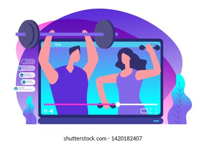 Sport livestream video. Sports bloggers vector illustration. Sport blogger media, video blogging about fitness
