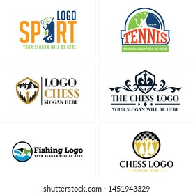 Sport logo badge man holding racket with throw ball and horse design suitable for training tennis chess fishing