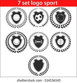Sport logo design illustration seven shields set. Emblem lowercase flat logo design template, with wreath and laurel.