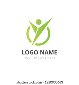 Sport logo design template. Health human character - vector logo template. Sport fitness concept illustration. Fitness club logo.