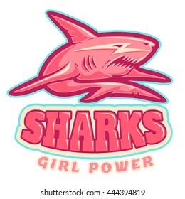 Sport logo with pink shark for women's sport team
